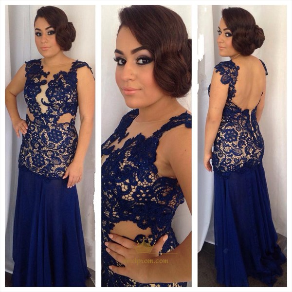 Navy Blue Cap Sleeve Lace Applique Bodice Backless Chiffon Prom Dress