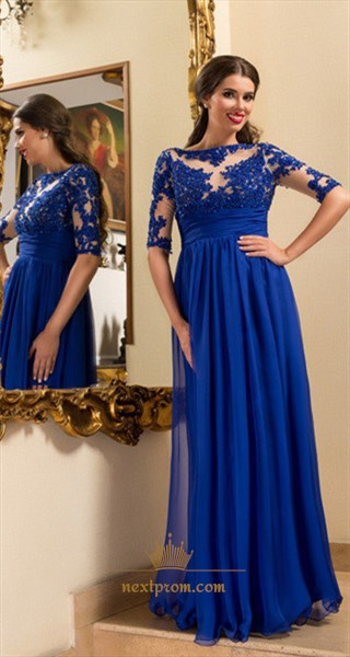 Royal Blue Illusion Half Sleeve Beaded Lace Bodice Chiffon Prom Dress