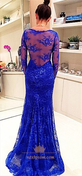 Royal Blue V Neck Long Sleeve Sheer Back Lace Mermaid Evening Dress