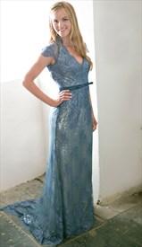 Elegant Cap Sleeve V Neck Keyhole Back Floor Length Lace Evening Gown