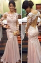 Light Pink Long Sleeve Illusion Lace Bodice Chiffon Mermaid Prom Dress