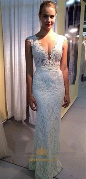 Elegant White Deep V-Neck Cap Sleeve Lace Sheath Mermaid Evening Dress
