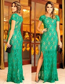 Simple Green Short Sleeve Lace Overlay Long Prom Dress With Side Slit