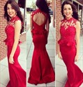 Red Sleeveless Illusion Beaded Embellished Backless Mermaid Prom Dress