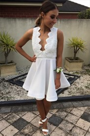 White Backless Short Skater Homecoming Dress With Lace Embellished Top