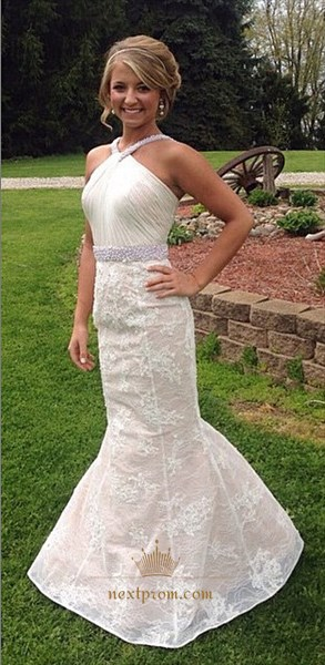 Ivory Halter Ruched Bodice Beaded Waist Lace Mermaid Long Prom Dress