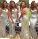 Simple V Neck Halter Silver Sequin Mermaid Prom Dress With Open Back