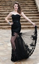 Black Strapless Lace Embellished Sheath Prom Dress With Sheer Overlay