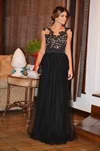 Black Short Sleeve Lace Embellished Bodice Long Sheer Back Prom Dress
