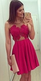 Fuchsia Sleeveless Sheer Neckline Lace Bodice Short Homecoming Dress