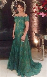 Elegant Emerald Green Off The Shoulder Lace A-Line Long Evening Dress