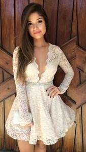 Cute Ivory Long Sleeve Beaded Waist Knee Length Lace Homecoming Dress
