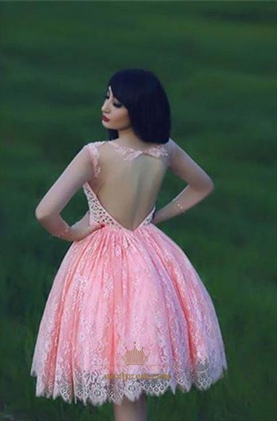 Lovely Pink Sheer Neckline Beaded Bodice Lace Short Homecoming Dress