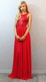 Elegant Red Sleeveless Sequin Bodice Backless Chiffon Long Prom Dress