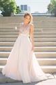 Ivory V Neck Sleeveless Sequin Bodice Backless Chiffon Long Prom Dress