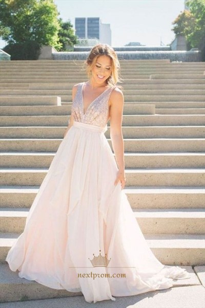 Ivory V Neck Sleeveless Sequin Bodice Backless Chiffon Long Prom Dress