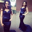 Navy Blue Lace Bodice Floor Length Mermaid Evening Dress With Straps
