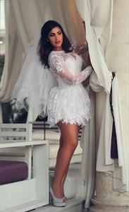 White Sheer Long Sleeve Backless Embellished Lace Short Wedding Dress