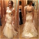 Ivory Beaded Neckline Sleeveless Backless Tulle Mermaid Lace Prom Gown