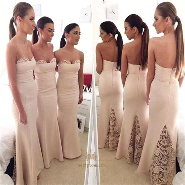 Ivory Strapless Lace Embellished Sheath Mermaid Long Bridesmaid Dress