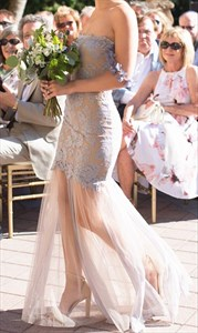 Off The Shoulder Lace Applique Tulle Overlay Sheath Bridesmaid Dress