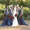 Navy Blue Short-Sleeve Backless Sequin Mermaid Long Bridesmaid Dress