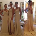 Sleeveless Sheer Back Side Slit Chiffon Bridesmaid Dress With Straps