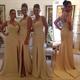 Sleeveless Sheer Back Side Slit Chiffon Bridesmaid Dress With Straps