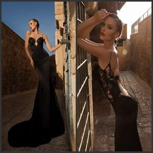 Black Spaghetti Strap Backless Lace Embellished Chiffon Mermaid Dress