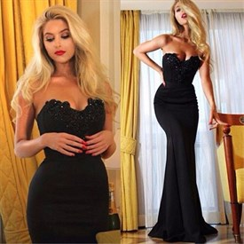 Elegant Black Strapless Lace Embellished Top Mermaid Long Prom Dress