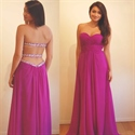 Fuchsia Strapless Ruched Bodice Beaded Open Back Chiffon Long Dress