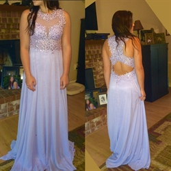 Lilac Illusion Sleeveless Lace Beaded Bodice Chiffon Long Prom Dress