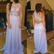 Lilac Illusion Sleeveless Lace Beaded Bodice Chiffon Long Prom Dress