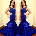 Elegant Royal Blue One Shoulder Lace Bodice Mermaid Long Evening Dress