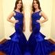Elegant Royal Blue One Shoulder Lace Bodice Mermaid Long Evening Dress