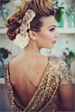 Champagne Short Sleeve Sequin Sheath Mermaid Floor Length Prom Dress