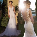 White Sleeveless Backless Sheer Lace Top Tulle Mermaid Wedding Dress