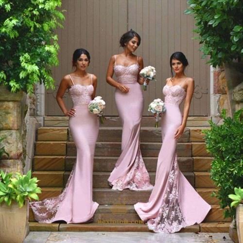 Pink Spaghetti Strap Sheath Mermaid Lace Embellished Bridesmaid Dress