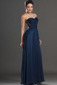 Navy Blue Strapless Sweetheart Embellished A-Line Chiffon Prom Dress