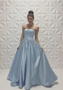 Floor Length Strapless Beaded Embellished A Line Light Blue Prom Dress