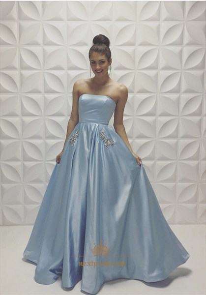 Floor Length Strapless Beaded Embellished A Line Light Blue Prom Dress