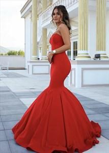 Elegant Red Strapless Sweetheart Floor Length Mermaid Evening Dress