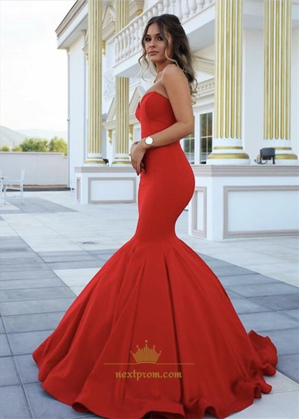 Elegant Red Strapless Sweetheart Floor Length Mermaid Evening Dress