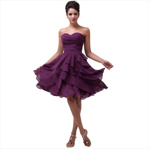 Purple Short Bridesmaid Dresses, Purple Tea Length Bridesmaid Dresses
