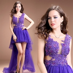 Purple High Low Prom Dresses 2018,Purple Prom Dresses 2018 Front Short Back Long