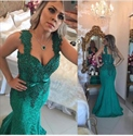 Emerald Green Sleeveless Beaded Embellished Lace Mermaid Evening Dress