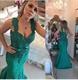Emerald Green Sleeveless Beaded Embellished Lace Mermaid Evening Dress