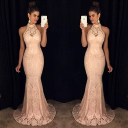 Elegant Halter Neck Floor Length Lace Overlay Mermaid Evening Dress