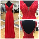 Red Sleeveless V-Neck Floor Length Backless Chiffon Bridesmaid Dress