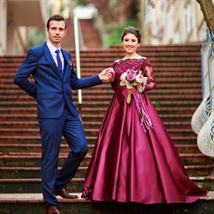 Off The Shoulder Long Sleeve Embellished A-Line Floor Length Ball Gown